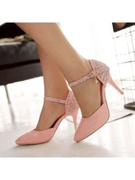 Sequins Pointed Toe Ankle Strap Classic Pumps