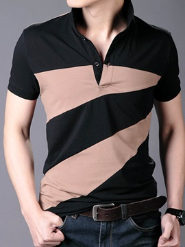 Contrast Color Buttons Decorated Mens Short Sleeve Tee
