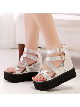 Pu Buckles Thong Wedge Sandals