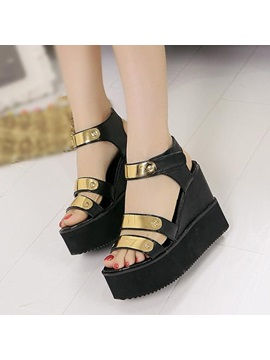Sequins Open Toe Velcro Wedge Sandals