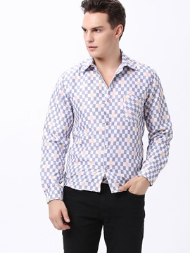 Colorful Plaid Printed Front Pocket Mens Shirt