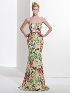 Modern Strapless Long Mermaid Print Prom Dress