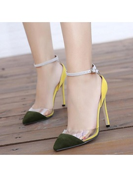 Pvc Ankle Strap Stiletto Heel Sandals