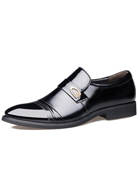 Pu Plain Toe Square Heel Mens Dress Shoes