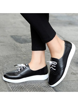Solid Color Pu Lace Up Sneakers