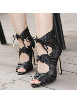 Mesh Peep Toe Stiletto Heel Sandals