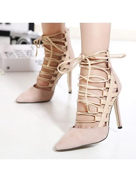 Solid Color Pointed Toe Lace Up Sandals