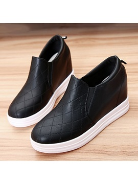 Pu Thread Elevator Heel Sneakers