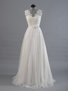 Floor Length A Line Scalloped V Neck Wedding Dress