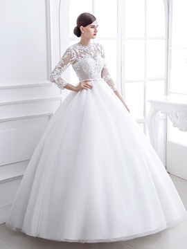 Lace Appliques Sheer Long Sleeve White Ball Gown Wedding Dress