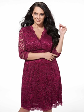Plain V Neck Half Sleeve Plus Size Womens Lace Dress
