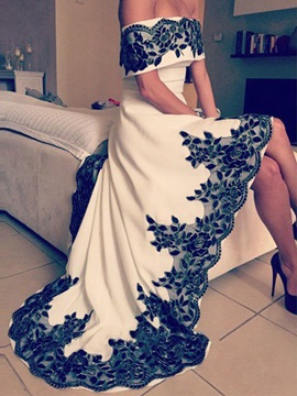 Modern Off The Shoulder Appliques High Low Evening Dress