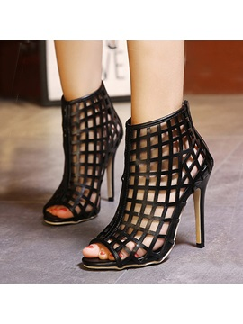 Black Peep Toe Hollow Back Zipper Sandals