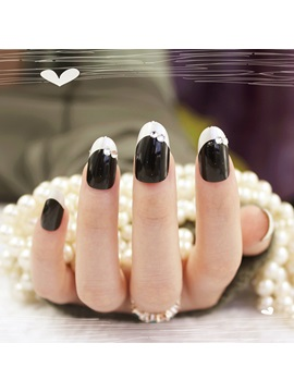 Black And Crystal Decoration False Nails Patch