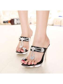 Rhinestone Ring Toe Slip On Sandals