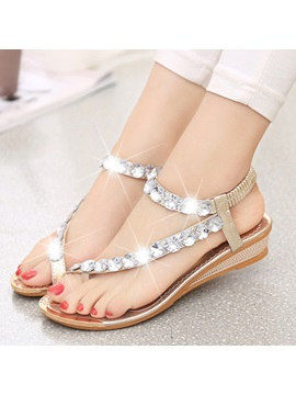 Crystal Ring Toe Flat Sandals