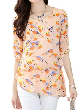 Irregular Hem Birds Print Blouse