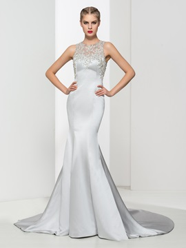 Luxurious Appliques Beading Button Backless Mermaid Evening Dress