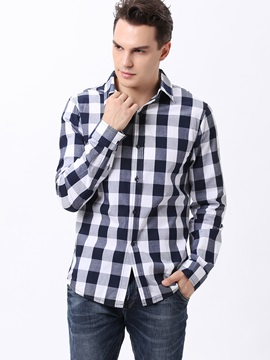 Plaid Single Breasted Mens Cotton Blend Shirt