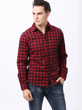 Plaid Slim Fit Single Breasted Mens Shirt