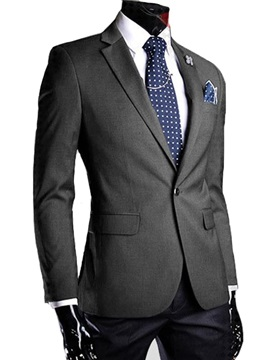Lapel Solid Color One Button Mens Blazer