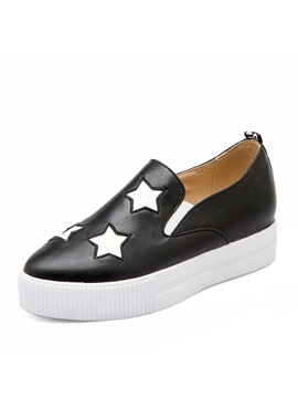 Pu Stars Slip On Loafers