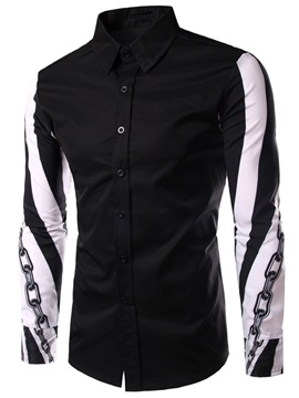 Chain Design Sleeve Mens Color Block Shirt