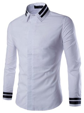 Hidden Single Breasted Color Block Stripe Mens Shirt
