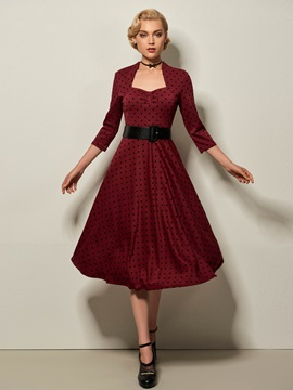3 4 Sleeve Polka Dot Skater Dress