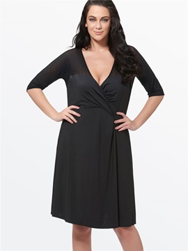 Plain V Neck Mesh Patchwork Plus Size Womens Day Dress