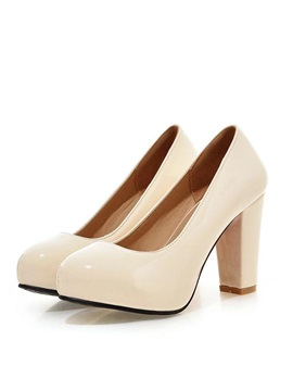 Solid Color Pu Chunky Heel Pumps