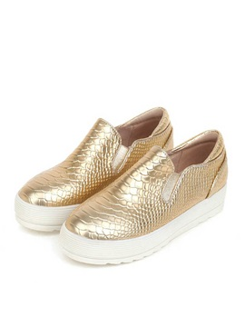 Cozy Embossed Pu Slip On Loafers