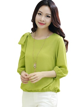 Special Bowknot Decoration Shoulder Short Blouse