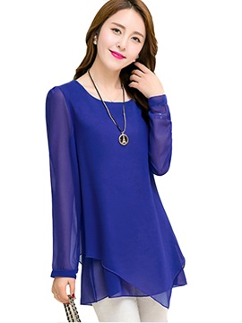 Stylish Asymmetrical Hem Slim Blouse