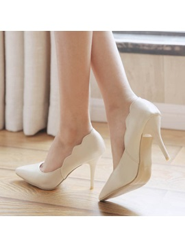 Pu Round Toe Stiletto Heel Classic Pumps