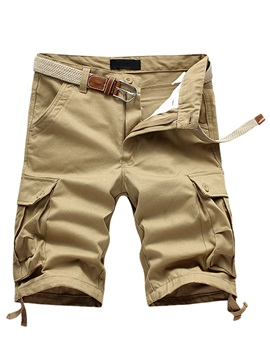 Plus Pockets Solid Color Mens Casual Knee Length Shorts