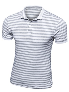 Stripe Printed Short Sleeve Buttons Design Mens Polo