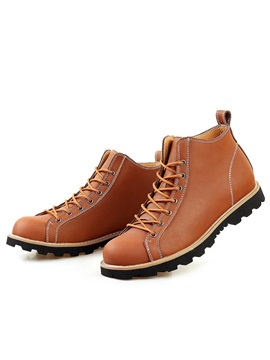 Pu Plain Toe Lace Up Martin Boots