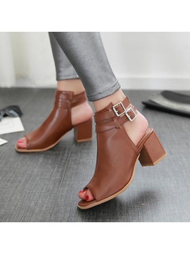 Solid Color Peep Toe Chunky Heel Sandals