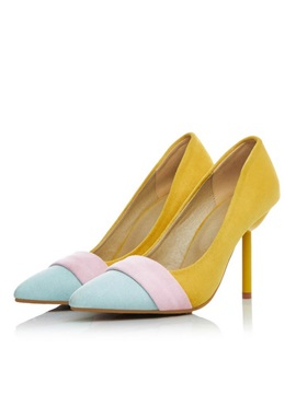 Color Block Suede Stiletto Heel Pumps