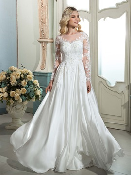 A Line Scoop Neck Long Sleeves Appliques Wedding Dress