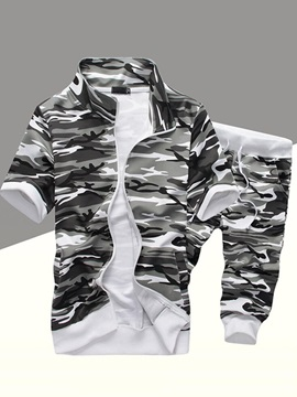 Camouflage Short Sleeve Zip Up Mens Sports Suit