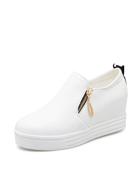 Pu Oblique Zipper Elevator Heel Sneakers