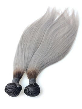 1b Grey Omber Straight Human Hair Weave 1 Pc