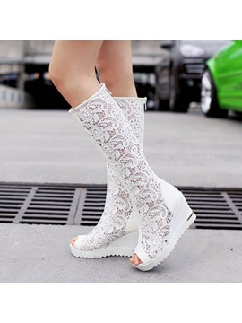 Lace Hollow Peep Toe Wedge Sandals