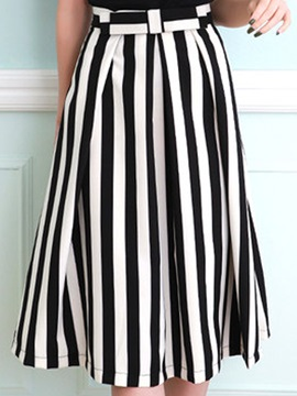 Stripe Pleated Belt Mid Calf Skirt