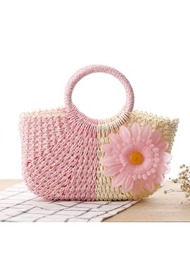 Sunflower Decoration Women Straw Bag