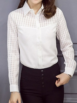 Chic See Through Sleeves Slim Shirt