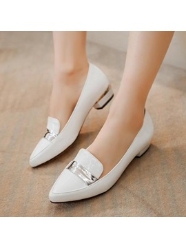 Pu Pointed Toe Square Heel Pumps