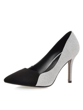 Pu Sequins Color Block Stiletto Heel Pumps